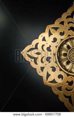 Golden Craved Floral Pattern On A Door