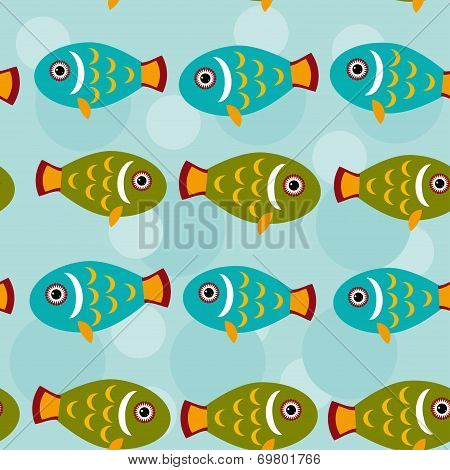 Seamless pattern with funny cute fish animal on a blue backgroun