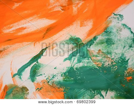 Abstract Background Of Orange And Green Colors