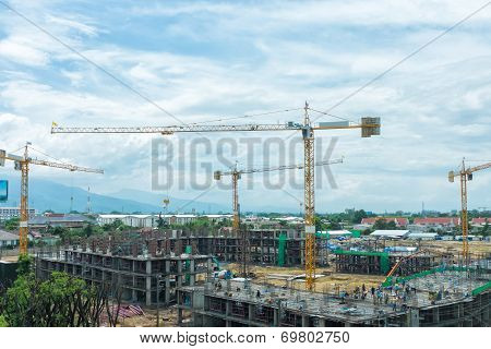 Construction Site With Cranes Building