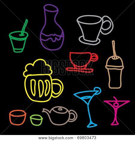 Colorful Drink & Beverage Icons Set On Black Background