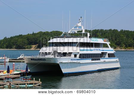 Whale watching boat in historic Bar Harbor