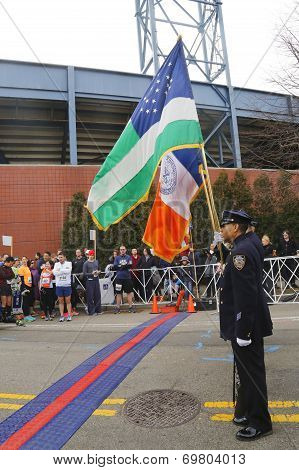 The Color Guard of the New York Police Department during the opening ceremony of the Michelob ULTRA