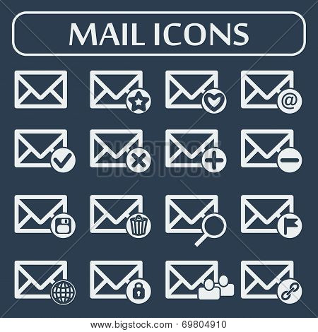 Set of sixteen vector mail icons for web applications, email icons design.