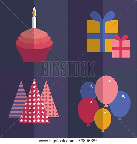 Happy birthday. flat style set. Cupcake with a candle, balloons,