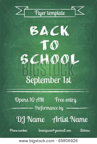 Back to school blue chalk board flyer