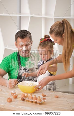 Family portrait while cooking