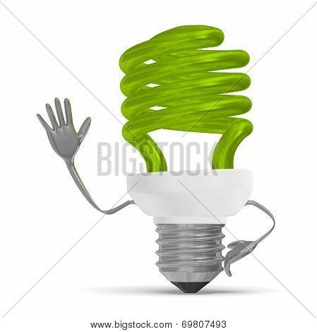 Green Fluorescent Light Bulb Character Waving Hand