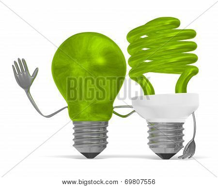 Green Light Bulb Characters, Arms Around Each Other