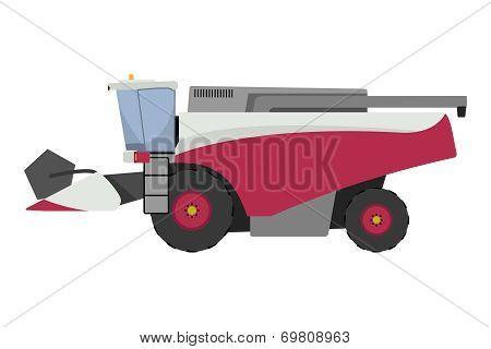 Modern red combine harvester