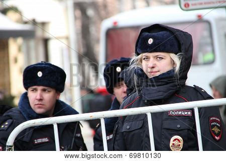 Woman Police Officer From Russia In Winter Uniform