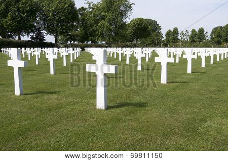 Crosses On Military Graves Of Fallen U.S. Soldiers