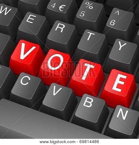 Black Keyboard With Vote Word