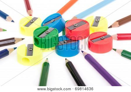 colorful pencils and pencil sharpeners
