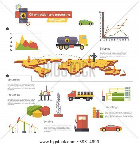 Oil Extraction and Processing Infographics Icons Symbols Modern Trendy Retro Flat Vector Illustratio