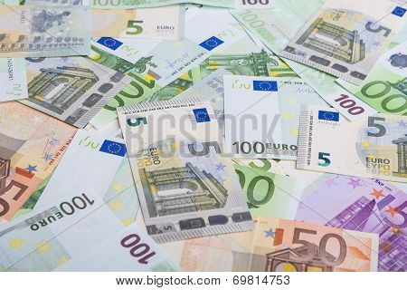 Currency Concept: Incoherent Heap Of European Banknotes Currency.