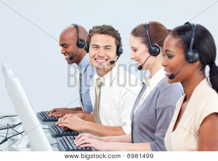 Cheerful Business People With Headset On