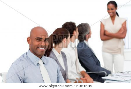 Multi-ethnic Business Group At A Presentation