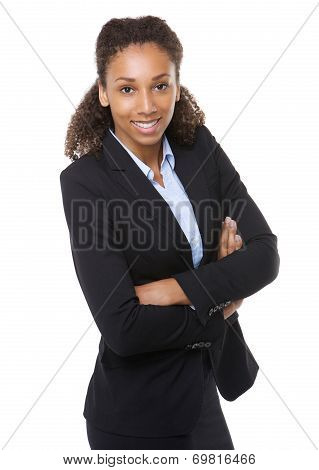 Young Business Woman Smiling With Arms Crossed