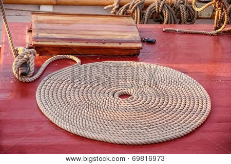 Coiled Rope On The Deck Of An Old Sailing Ship