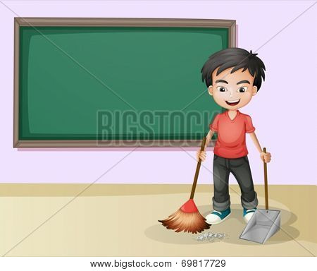 Illustration of a boy cleaning in a classroom
