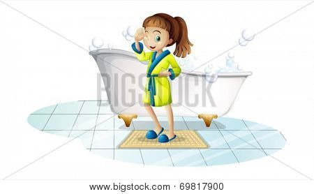 Illustration of a girl in bathrope in front of a bathtub