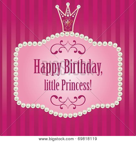 birthday card for little princess, glamour girl and woman