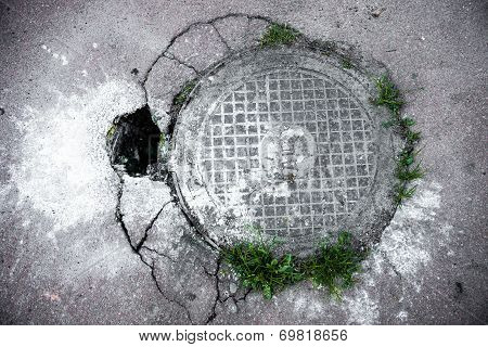 Manhole In Cracked Asphalt Surface