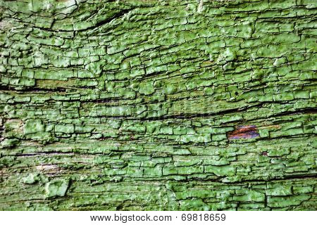 Wooden Surface With Cracked Green Paint