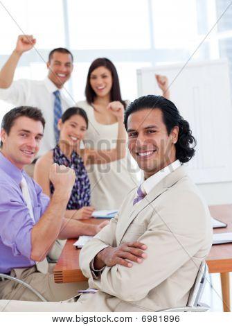 International Business Team Celebrating A Success