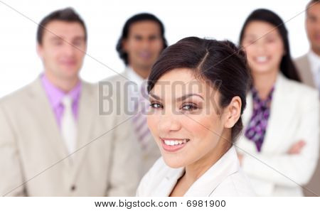 Charming Female Executive Presenting Her Team