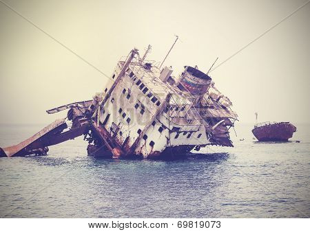 The Sunken Shipwreck On The Reef, Egypt, Vintage Retro Filtered.