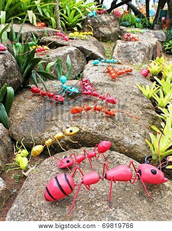 The Synthetic Giant Ants As Garden Decoration In Nong Nooch