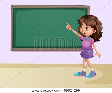Illustration of a girl pointing at the board in a classroom