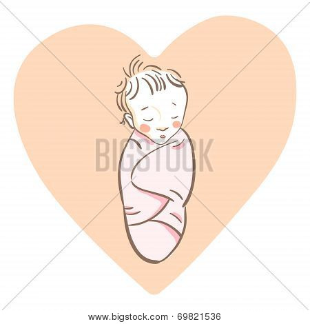 Cute newborn baby girl sleeping sweet wrapped in a pink swaddling blanket, vector illustration