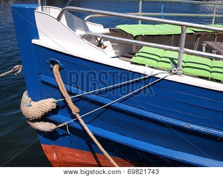 Prow Of A Wooden Tour Boat