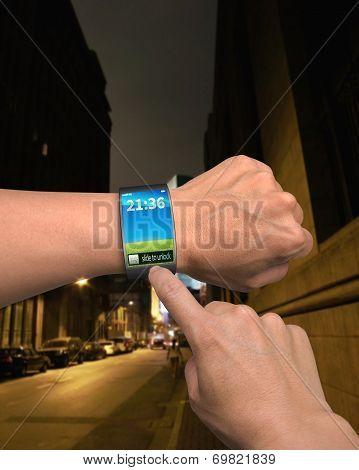 Male Finger Touching Slide To Unlock On Samrt Twatch