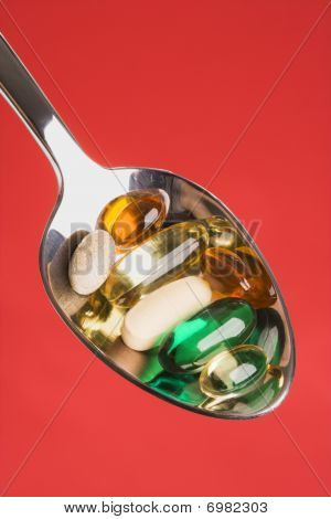 Spoonful Of Pills. Isolated