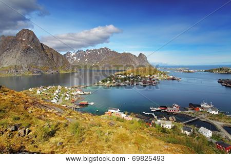 Town Of Reine By The Fjord On Lofoten Islands In Norway