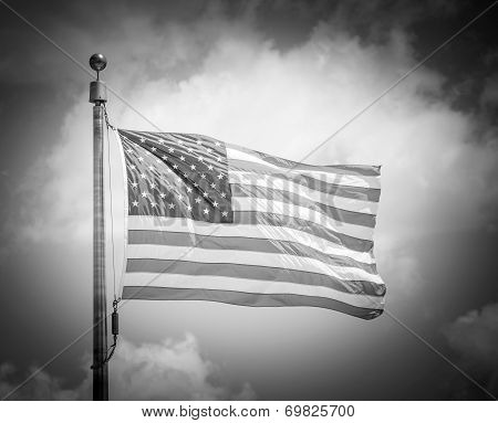 Black And White Of American Flap Flapping On Blue Sky