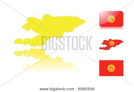 Kyrgyzstan map and flags