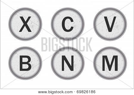 Typewriter Keys Xcvbnm