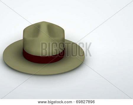 Light background Ranger hat khaki green color. Vector Illustration