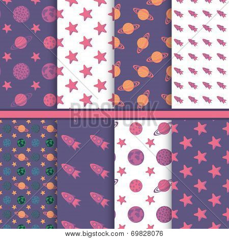 Set of seamless patterns with space, planets, stars
