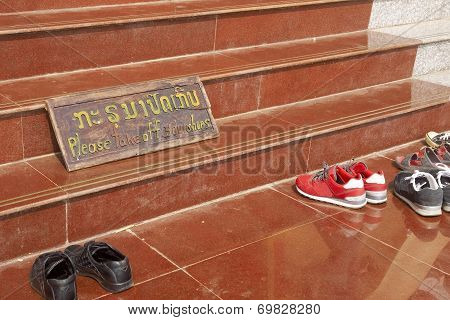Please Take Off Your Shoes - Wooden Sign