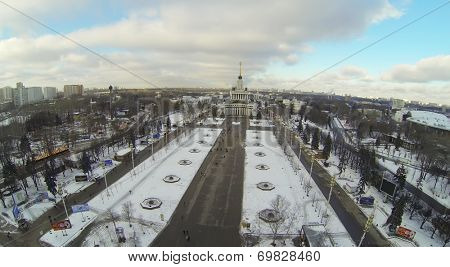 MOSCOW, RUSSIA - NOVEMBER 30, 2013: Central Pavilion of All-Russia Exhibition Center, aerial view. The pavilion was built in 1954