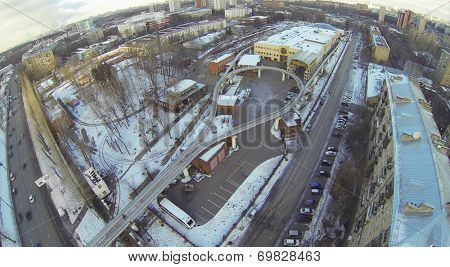MOSCOW, RUSSIA - NOVEMBER 30, 2013: The final station of the Moscow monorail transport system - Street Sergei Eisenstein, aerial view