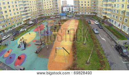 MOSCOW, RUSSIA - NOV 16, 2013: One of the courtyards in the residential complex Marfino, aerial view. Each court has its own name (Giraffe, Rhino, Kangaroo, Elephant, Camel and Cobweb)