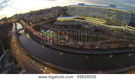 MOSCOW, RUSSIA - NOVEMBER 19, 2013: Palace of Culture named after Bauman located on embankment of the river Jauza in evening, aerial view. Palace of Culture - a modern cultural complex built in 2004