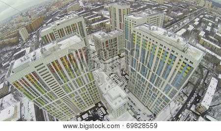 MOSCOW, RUSSIA - NOVEMBER 23, 2013: Colored buildings of apartment complex Bogorodskiy, aerial view. The complex is an ensemble of 11 buildings of different height